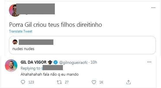 Gil do Vigor, do 'BBB', fala de nudes no Twitter (Foto: Reprodução)