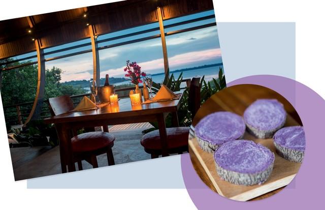 À esquerda, ambiente do restaurante CamuCamu; e, abaixo, prato de cará roxo cozido (Foto: Giampaolo Sgura / Arquivo Vogue, Thais Antunes, Ricardo Azoury/ Pulsar Imagens, Divulgação e Reprodução Instagram)