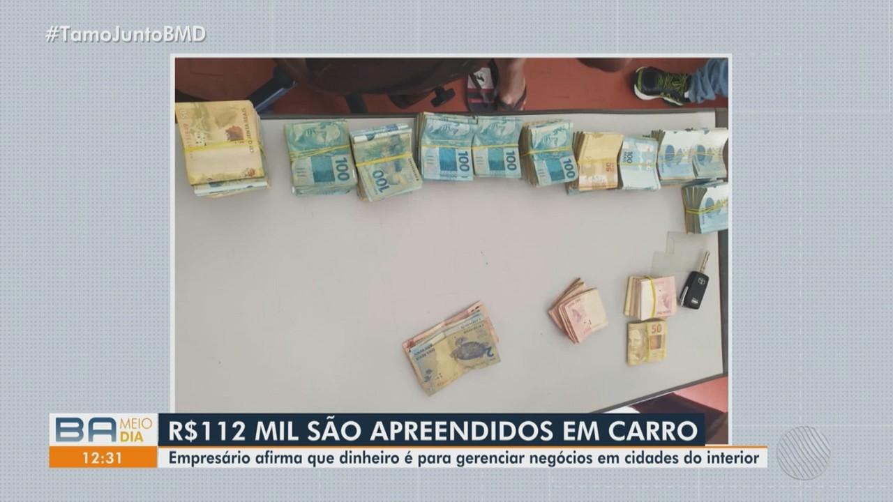 Polícia investiga origem de dinheiro encontrado dentro de carro, na cidade de Anguera