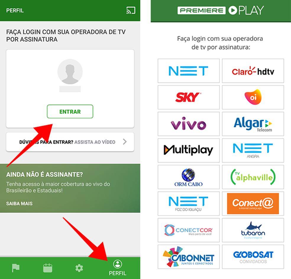 """977f6fe998 Abra o aplicativo do Premiere Play e toque na aba """"Perfil"""" para fazer  login. Ao acessar o menu """"Entrar"""""""