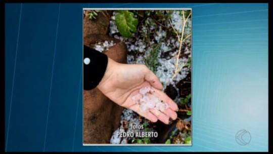 Chuva de granizo é registrada em cidades do Centro-Oeste e Alto Paranaíba