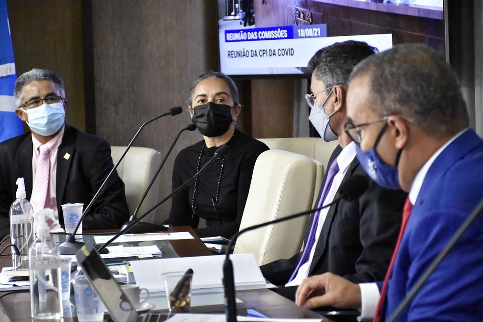 Magaly Câmara, diretora do Lacen, depôs na sessão da CPI da Covid no RN — Foto: Eduardo Maia/ALRN