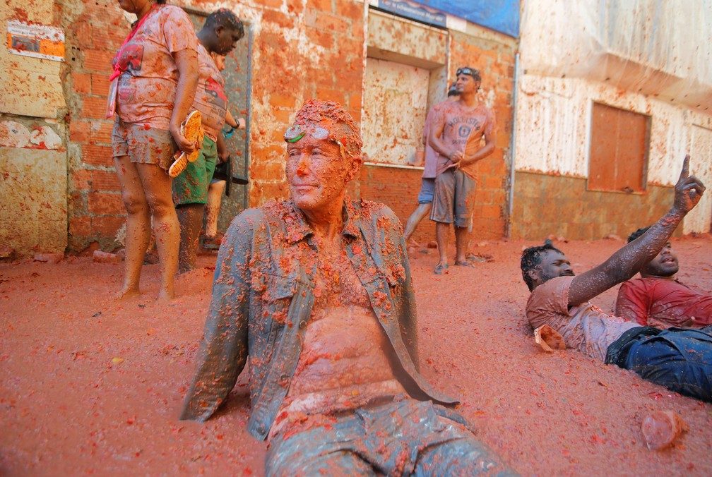 Imagem da festa do tomate em Buñol em 2019 — Foto: Heino Kalis/Reuters