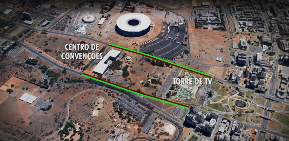 Suvaco da Asa: trânsito será parcialmente fechado entre o Centro de Convenções e a Torre de TV (Foto: TV Globo/Reprodução)