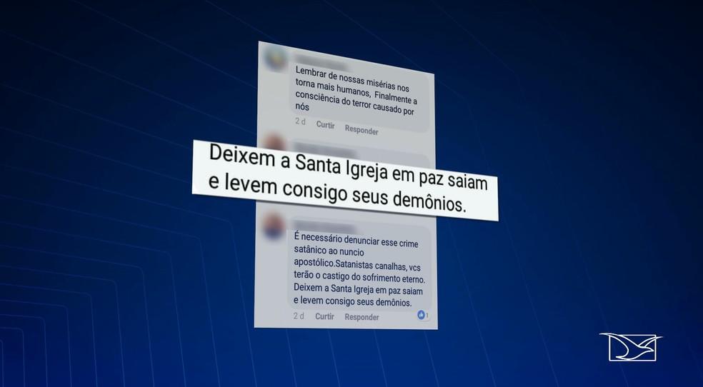 Internauta insulta celebração aos negros em igreja de São Luís e pede que eles levem os demônios consigo — Foto: Reprodução/TV Mirante
