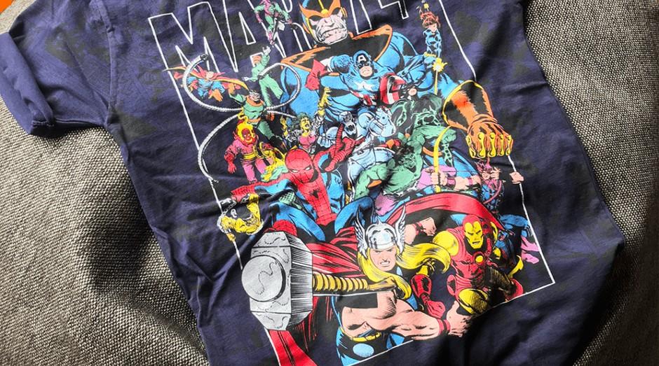 Camiseta com personagens da Marvel, uma das empresas que mais licencia produtos (Foto: Divulgação)