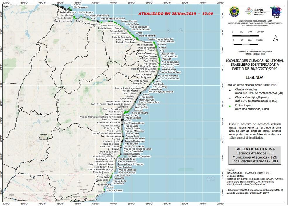 Mapa divulgado pelo Ibama mostra pontos do litoral atingidos pelo óleo — Foto: Divulgação/Ibama