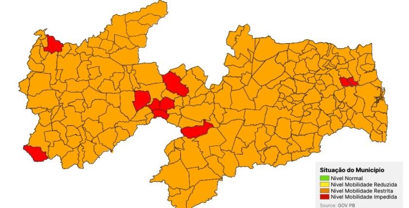 Plano Novo Normal: Paraíba segue com 100% das cidades nas bandeiras laranja e vermelha