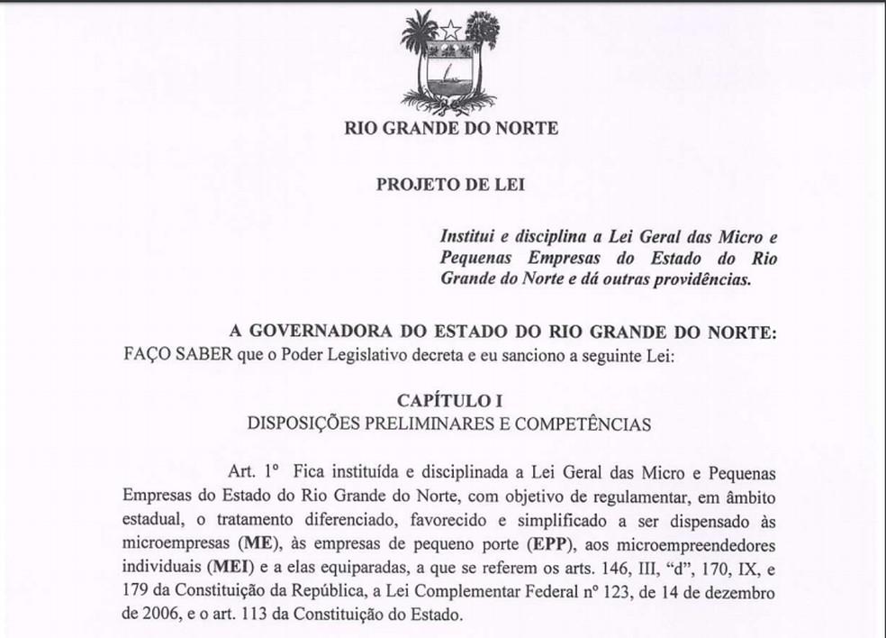 Projeto de lei geral das micro e pequenas empresas está na Assembleia Legislativa do RN — Foto: Reprodução
