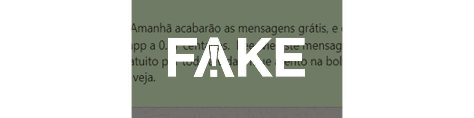 É #FAKE que WhatsApp passará a cobrar R$ 0,37 por envio de mensagens - Notícias - Plantão Diário
