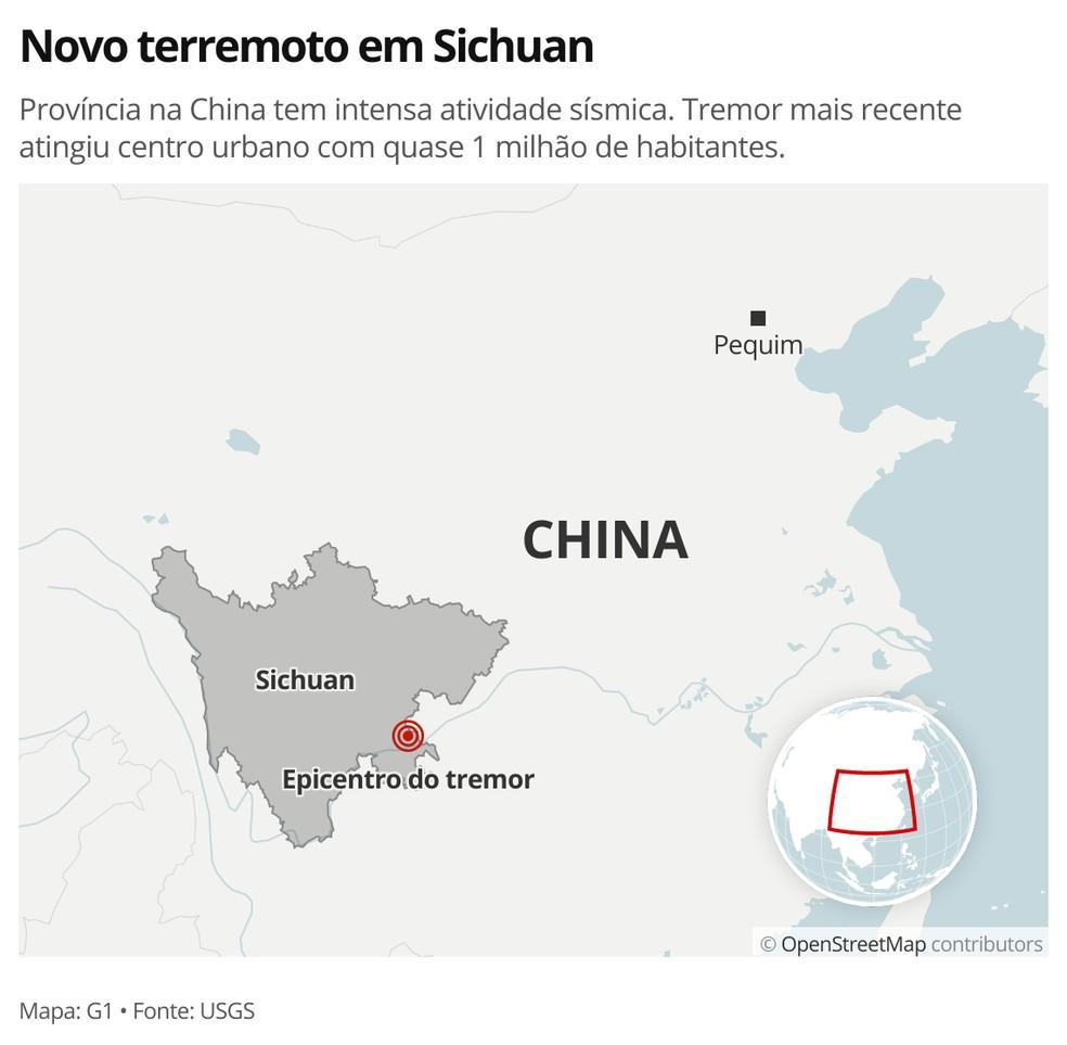 MAPA - Terremoto em Sichuan, na China — Foto: G1 Mundo