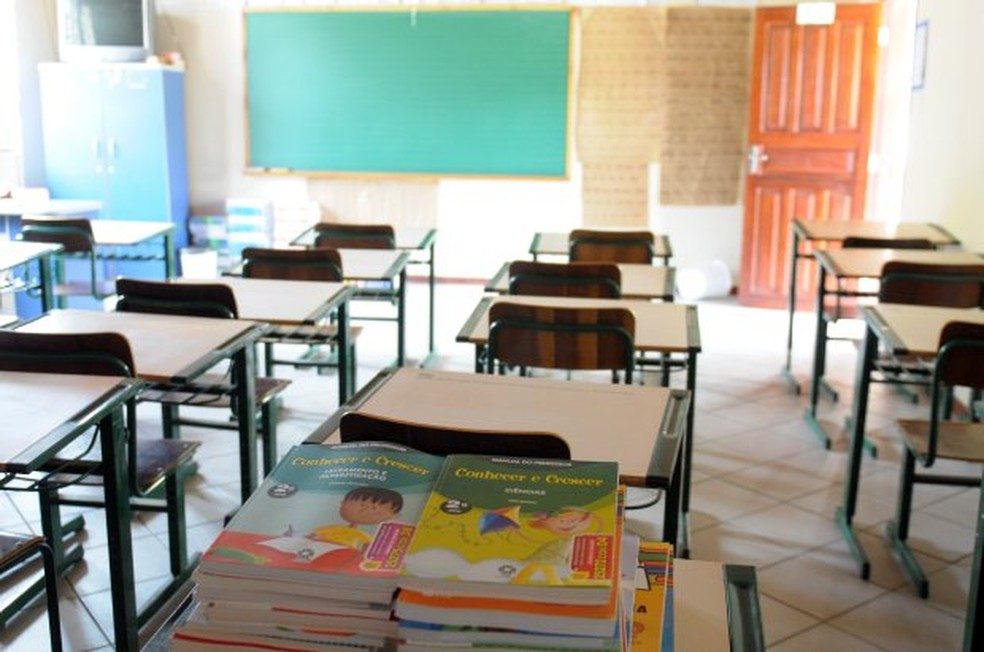 Sala de aula vazia em Santa Catarina — Foto: Julio Cavalheiro/Arquivo/Secom/Divulgação