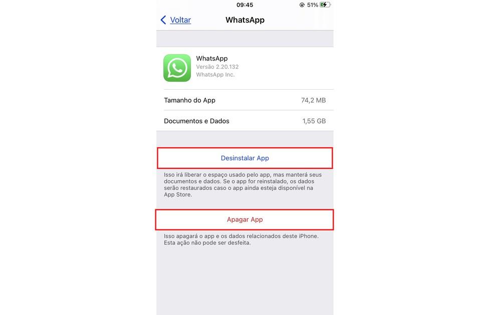 iPhone permite desinstalar ou apagar aplicativos para limpar os dados e liberar espaço — Foto: Reprodução/Rodrigo Fernandes