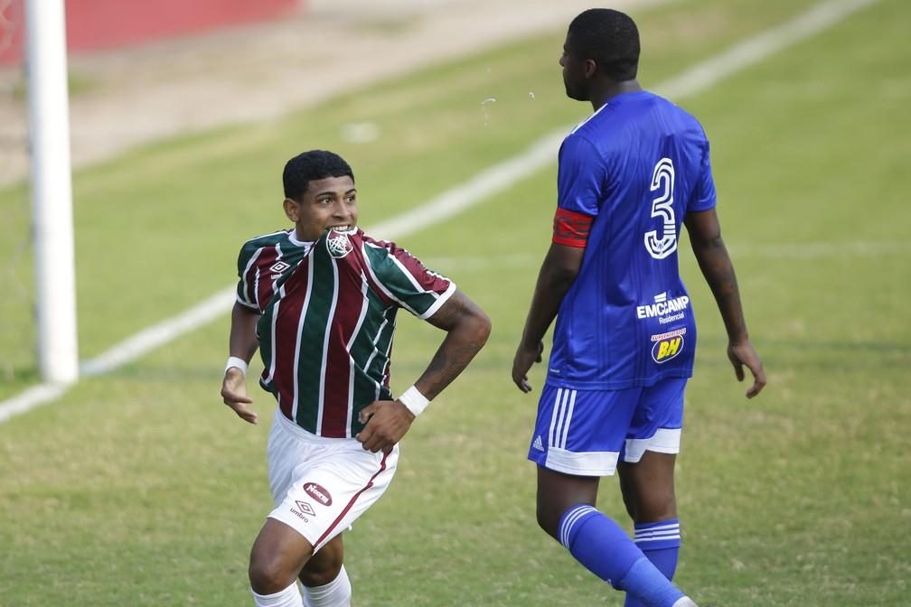 John Kennedy em Fluminense x Cruzeiro pelo Brasileiro Sub-20 — Foto: Gilvan de Souza / FFC