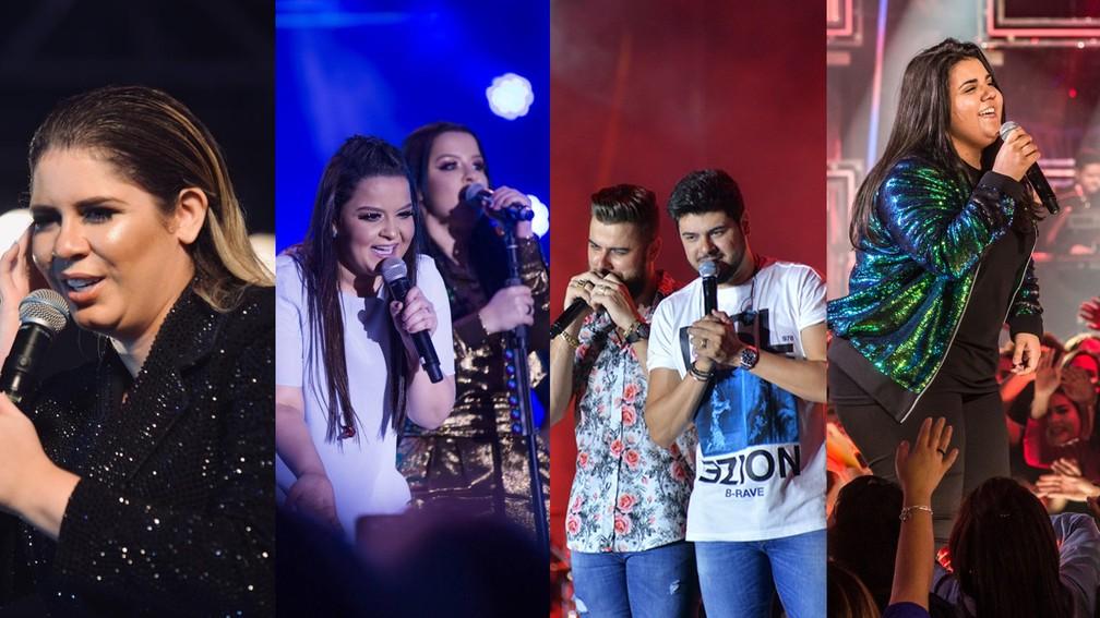 Marília Mendonça, Maiara e Maraísa, Zé Neto e Cristiano e Yasmin Santos — Foto: G1/G1