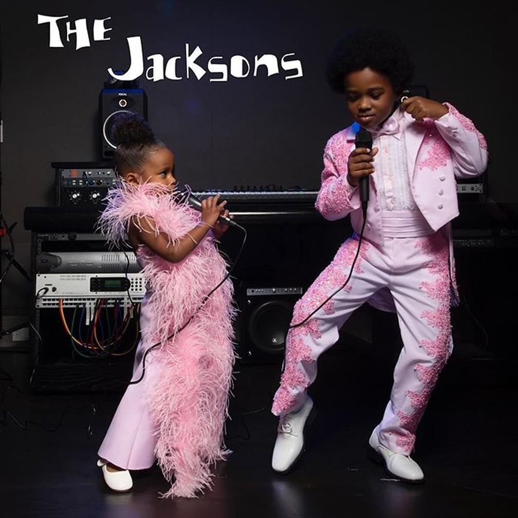 Filhos de Ciara se vestiram como os The Jacksons para o Halloween — Foto: Reprodução/Instagram/Ciara