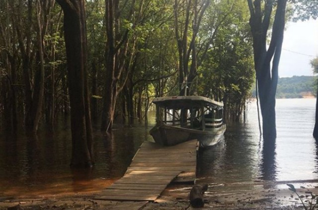 Foto publicada por Leandra Leal em seu Instagram durante as gravações na Amazônia (Foto: Reprodução)