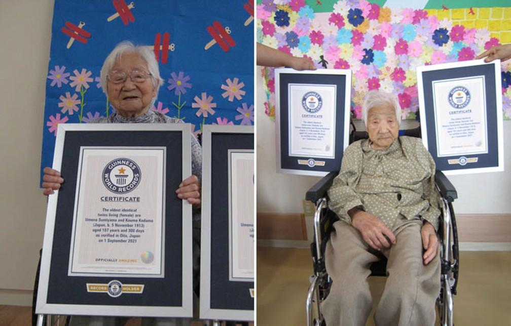 Umeno (esqueda) e Koume (direita) com seus certificados oficiais — Foto: Reprodução/Guinnes World Records
