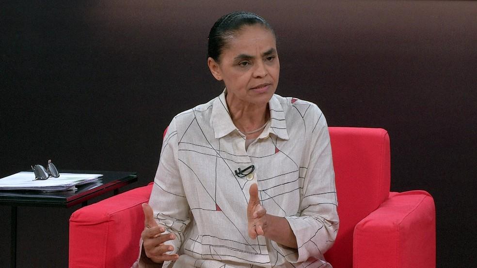 Marina Silva durante entrevista ao Central das Eleições, na GloboNews (Foto: Reprodução/GloboNews)