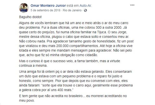 Publicação de Omar Monteiro em setembro de 2018 (Foto: Reprodução/Facebook)