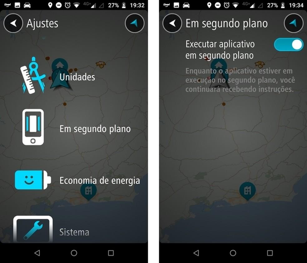 App de direção pode rodar em segundo plano para fornecer informações mesmo sem estar aberto na tela do celular — Foto: Reprodução/Raquel Freire