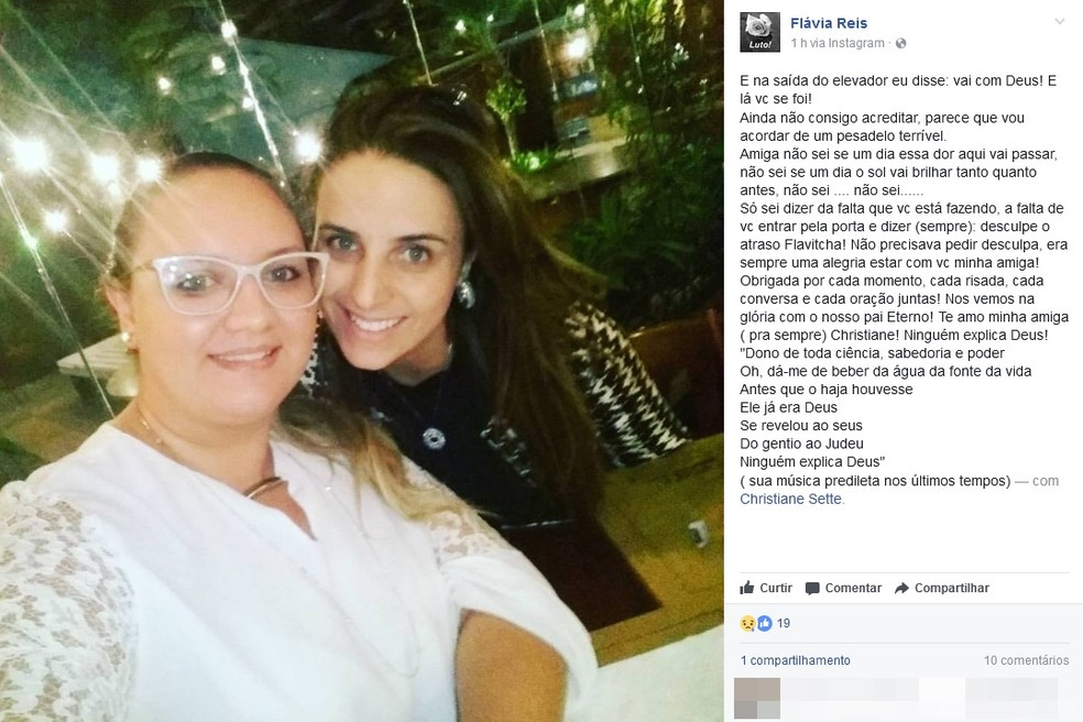 Amiga e cabeleireira de Christiane diz estar vivendo um pesadelo (Foto: Reprodução/Facebook)