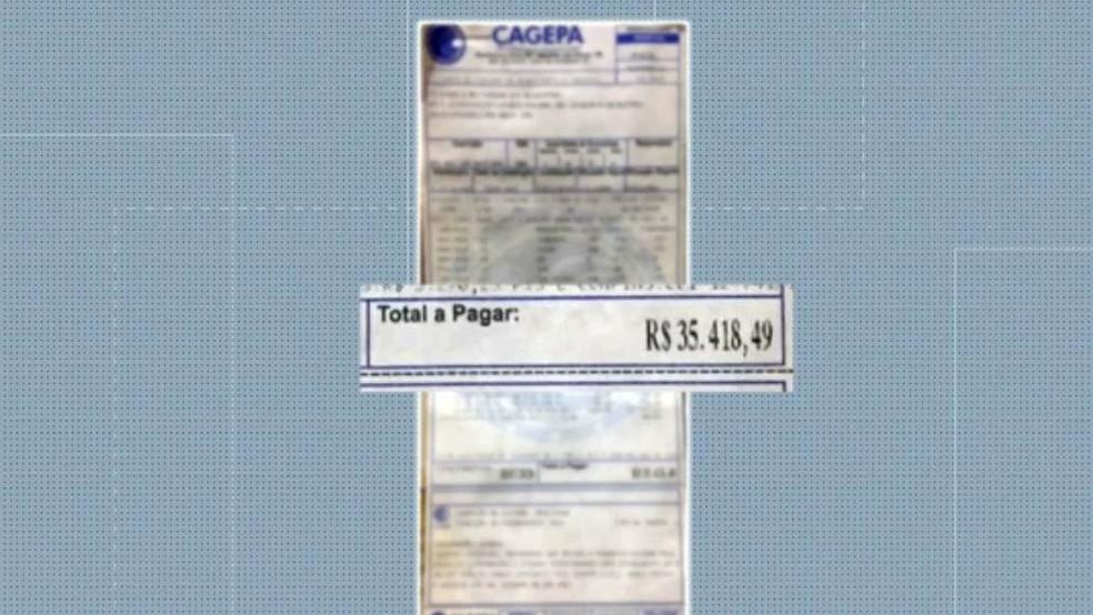 Conta de água superou o valor de R$ 35 mil em uma família de três pessoas, em João Pessoa — Foto: Reprodução/TV Cabo Branco