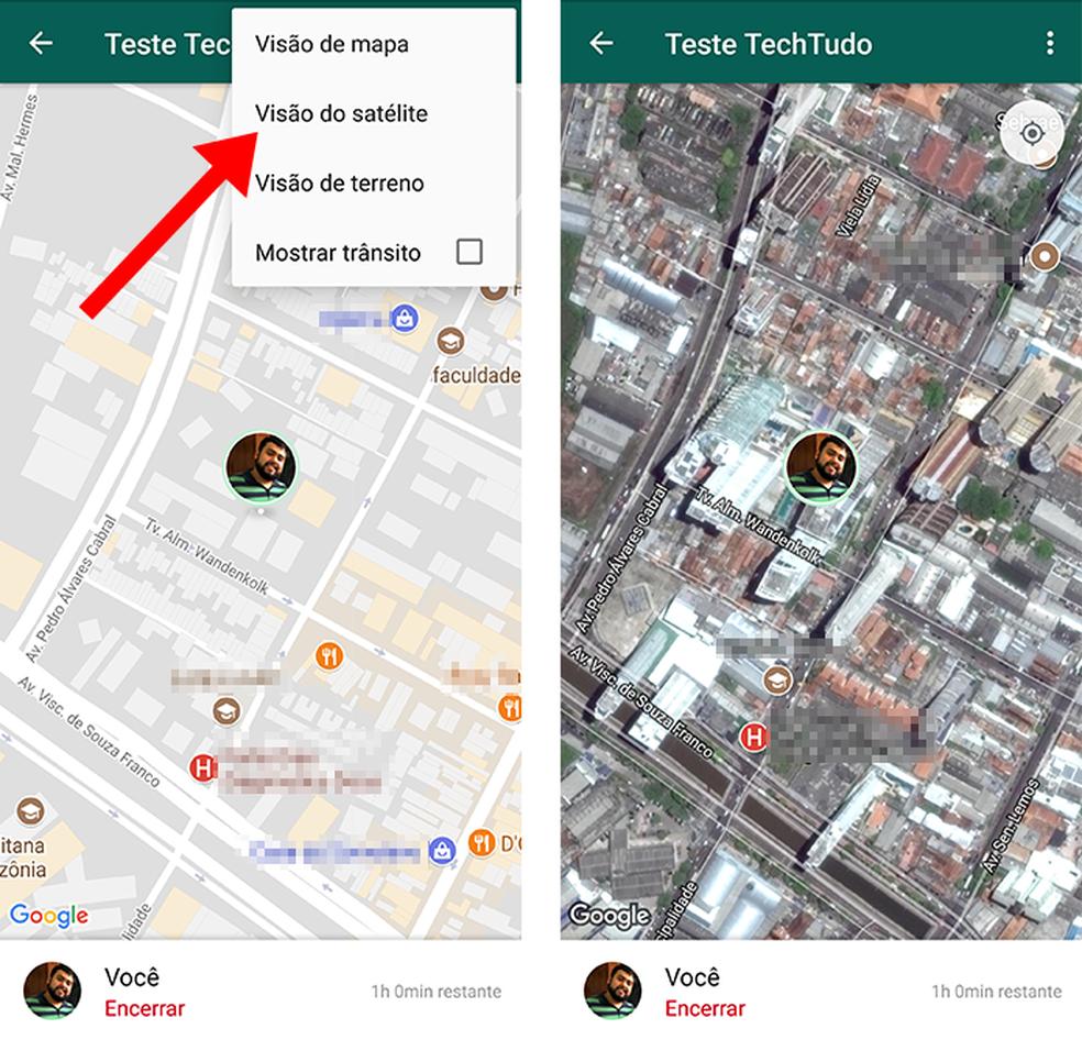 Mude a visualização para satélite no compartilhamento de localização do WhatsApp (Foto: Reprodução/Paulo Alves)