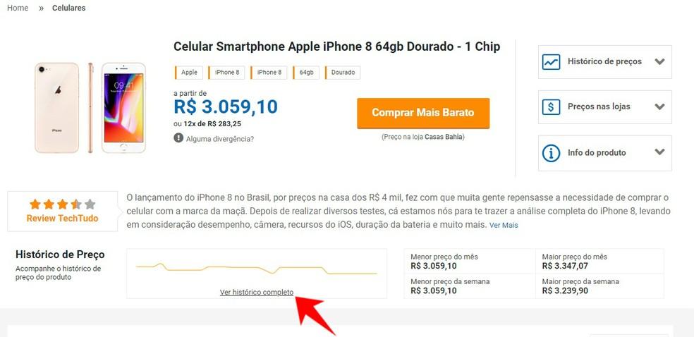 Compare TechTudo tem histórico de preços de um produto nos últimos seis meses — Foto: Reprodução/Rodrigo Fernandes