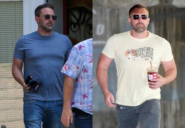 Ben Affleck no início de setembro e no início de outubro, após 30 dias de rehab (Foto: BackGrid)