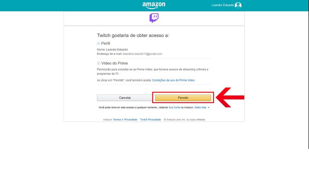 Permita que a Twitch TV tenha acesso à conta da Amazon Prime Video — Foto: Reprodução/Leandro Eduardo