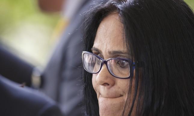 A futura ministra Damares Alves ao ser apresentada no CCBB de Brasília