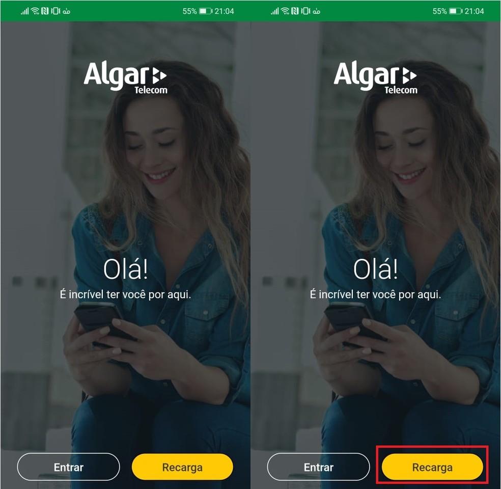 """Abra o aplicativo e toque em """"Recarga"""" — Foto: Reprodução/Larissa Infante"""