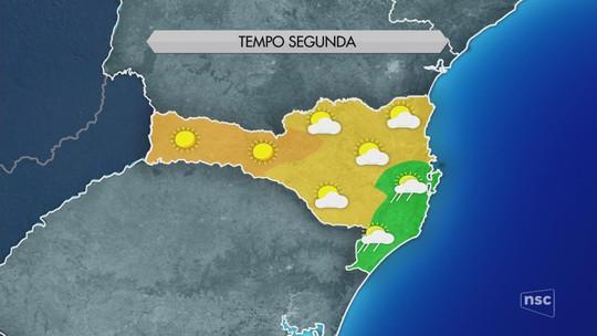 Tempo seco e sol predominam nesta segunda-feira em Santa Catarina