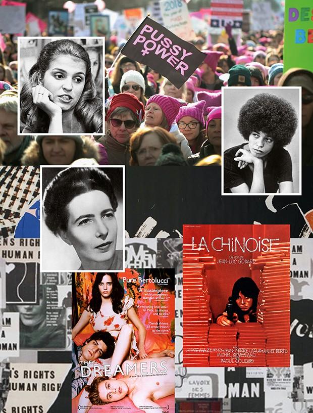 Acima e à esq., a feminista carioca Leila Diniz, nos anos 60. Acima, as ruas de Chicago, em janeiro deste ano, durante a women's march. À dir., a ativista americana Angela Davis. À esq., a  feminista francesa Simone de Beauvoir. Abaixo, cartazes dos filmes que evocam os manifestos de 1968: os sonhadores,  de 2003, de Bernardo Bertolucci,  e a chinesa, de Jean-luc Godard (Foto: Divulgação / Getty Images)