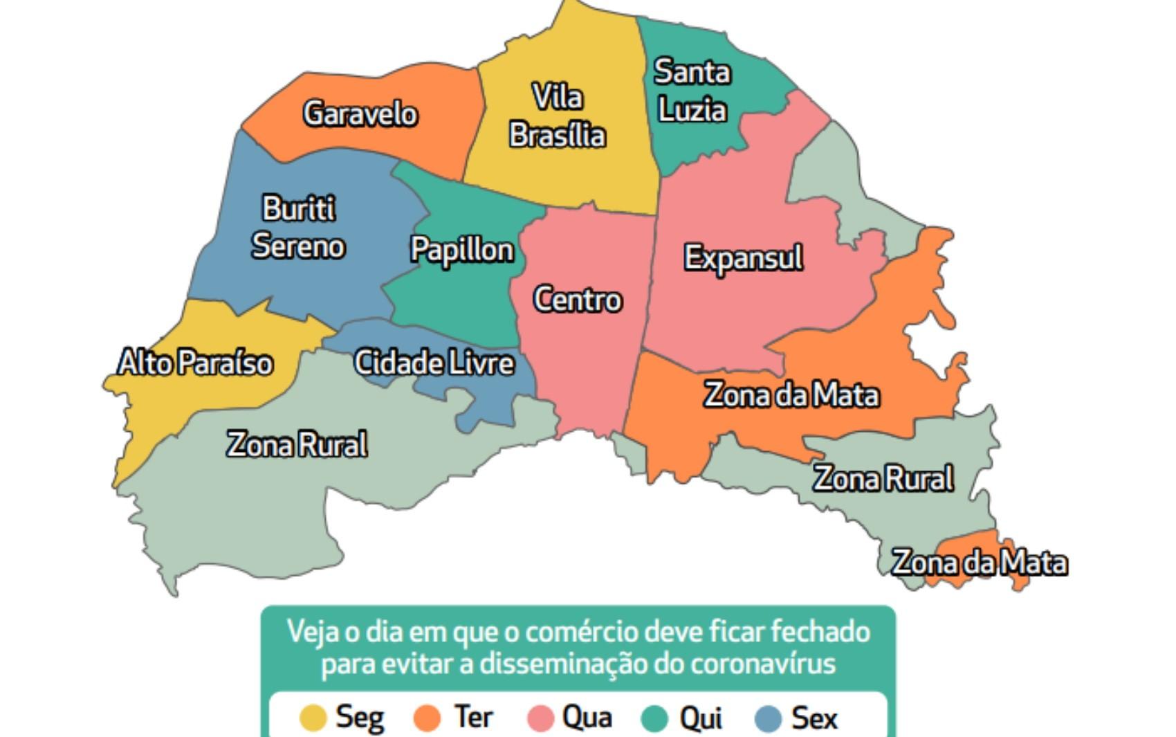 Prefeitura de Aparecida de Goiânia inicia rodízio com dois dias do comércio fechado por macrozona