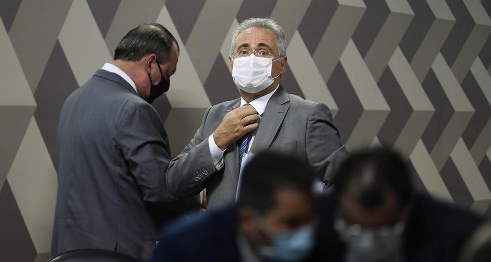Renan Calheiros na CPI da Covid — Foto: Edilson Rodrigues/Agência Senado