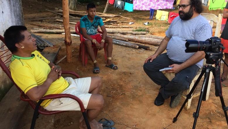caminhos-da-safra-making-off-equipe-entrevista-indio (Foto: Fernando Martinho/Ed.Globo)