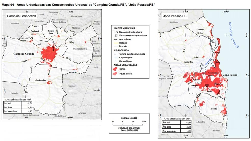 Mapas mostram áreas urbanizadas de João Pessoa e Campina Grande (Foto: Reprodução/Áreas Urbanizadas do Brasil 2015)
