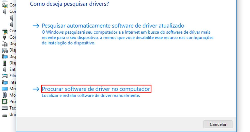 """Clicando em """"Procurar software de driver no computador"""" — Foto: Edivaldo Brito/TechTudo"""