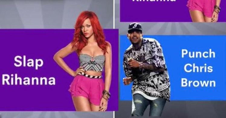 O anúncio fazendo referência à agressão de Chris Brown em Rihanna (Foto: Snapchat)