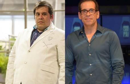 Leandro Hassum em 'Geração Brasil', no fim de 2014, pouco antes da cirurgia bariátrica, e atualmente, cerca de 60kg mais magro: 'Estou esquecendo que era daquele tamanho' Estevam Avellar e João Cotta/ TV Globo