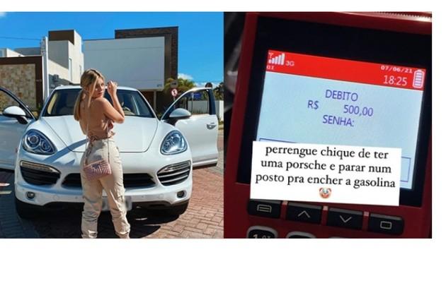 A ex-BBB Viih Tube tem um Porsche branco avaliado em R$ 400 mil. Recentemente, ela viralizou ao fazer piada com o valor gasto em combustível (Foto: Reprodução)