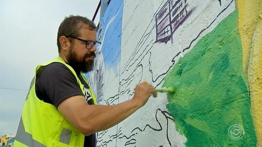 Artista plástico homenageia produção agrícola de Piedade com desenhos em muros