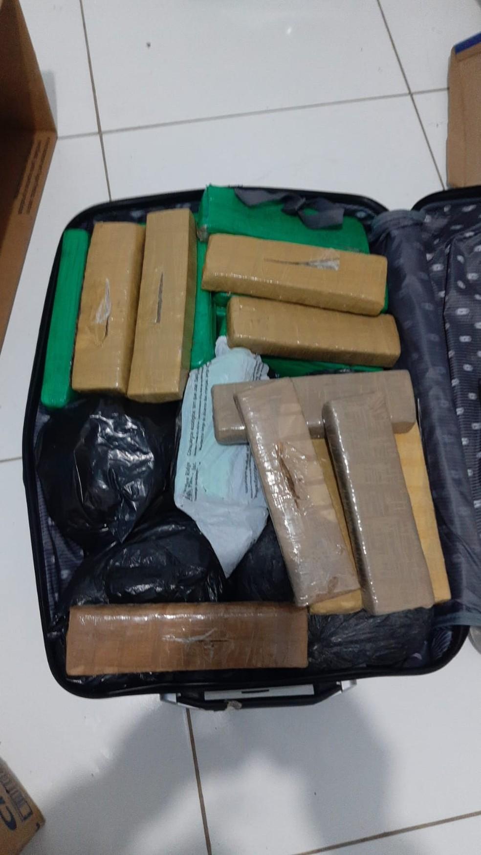 Tabletes de maconha foram apreendidos na ação  — Foto: Polícia Militar