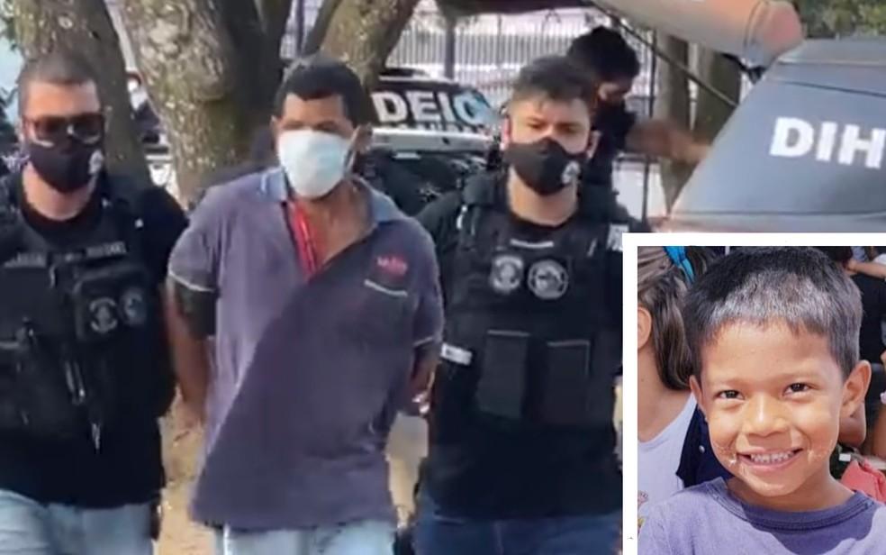 Padrasto é suspeito como suspeito da morte de Danilo Sousa, de 7 anos, em Goiânia — Foto: Reprodução/TV Anhanguera