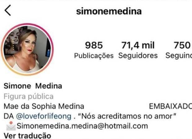 Simone, mãe de Gabriel Medina, muda biografia (Foto: Reprodução/Instagram)