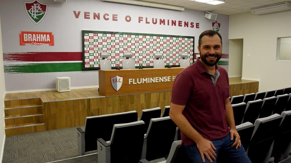 Mário Bittencourt lança nova sala de imprensa do Fluminense — Foto: Mailson Santana / FFC