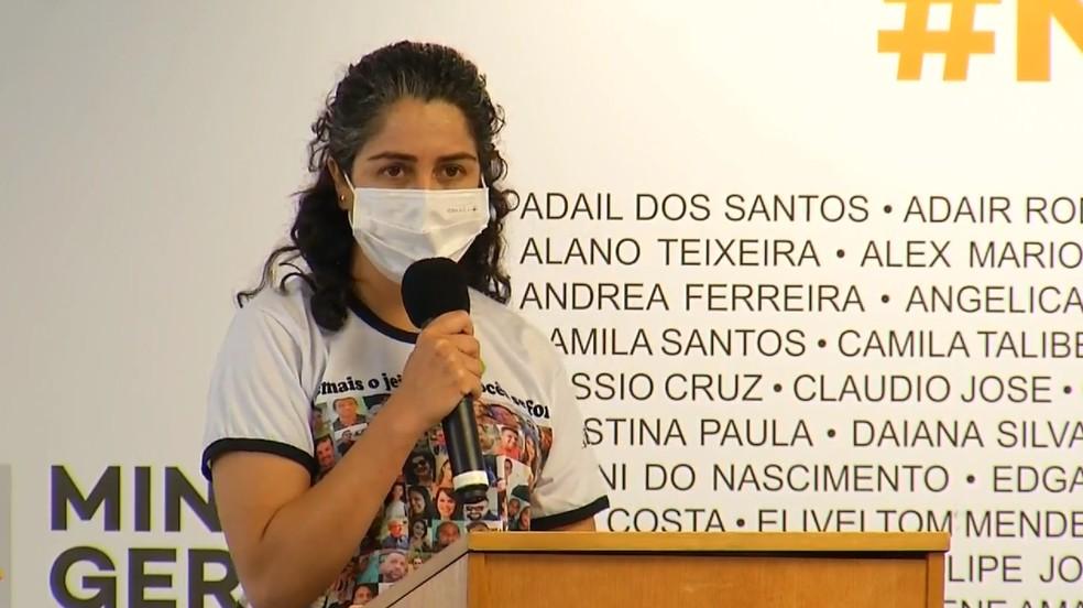 Josiane Melo, presidente da Avabrum, que representa familiares de vítimas e atingidos pelo rompimento da barragem — Foto: Reprodução/ Governo de Minas
