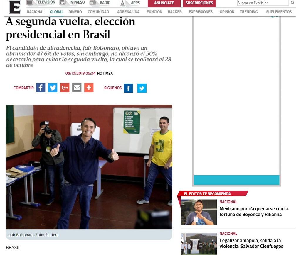 """Jornal mexicano """"Excelcior"""" noticia resultado das eleições no Brasil — Foto: Reprodução/Excelsior"""